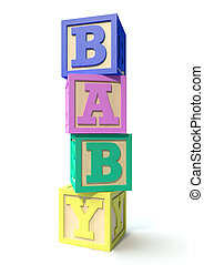 Stacked Baby Blocks - A stack of four regular baby blocks in...