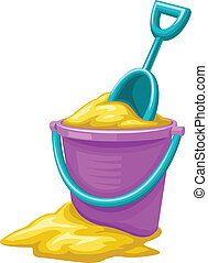 Toy bucket with sand and scoop for children game