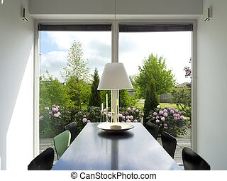 dining room with view to the garden - modern dining room...