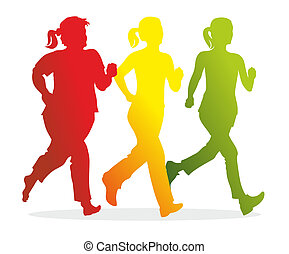 runner - silhouettes of female runners with different shapes