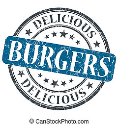 Burgers blue round grungy stamp isolated on white background
