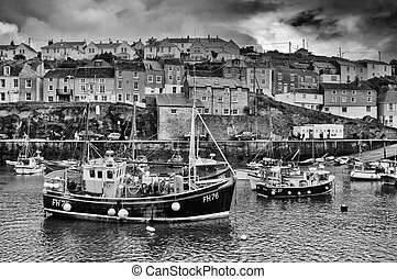Mevagissey harbour with fishing boats