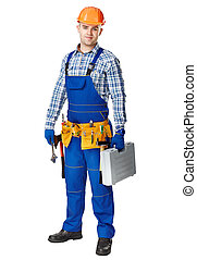 Young construction worker whis tools - Full length portrait...