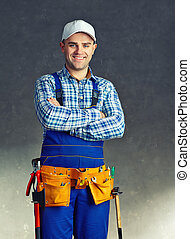 Happy young construction worker - Portrait of happy young...