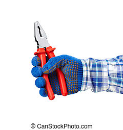 Pliers in hand - Working hand with protection glove holding...
