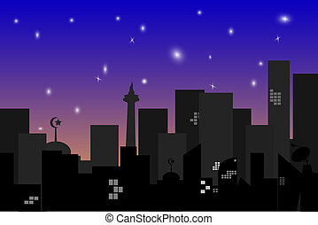 Town Silhouette at night