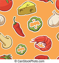 Pizza Ingredient Seamless Pattern - A seamless pattern of...