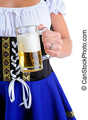 Holding Beer Stein - Beautiful Woman Wearing A Traditional...