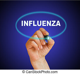 INFLUENZA - writing word INFLUENZA with marker on gradient...