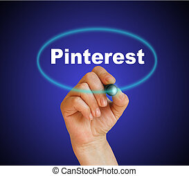 Pinterest - writing word ' Pinterest ' with marker on...