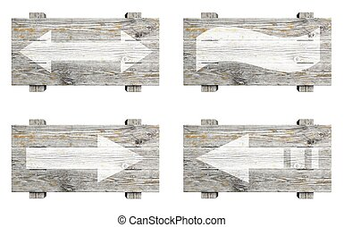 Old wooden signs set with arrows isolated on white