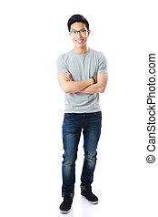 Full-length portrait of a smiling asian man with arms folded...