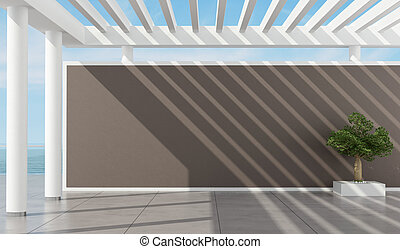 Empty pergola of a summer house - Exterior of a holiday...