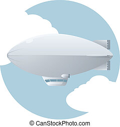 Dirigible - Vector image of an dirigible in the sky