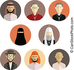 Religion icons - Vector image of collection of flat icons of...