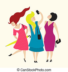 Three Young Women Friends Club - Flat simple illustration...