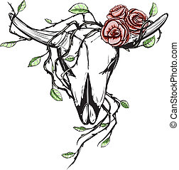 Cow Skull with Romantic Roses Tattoo - Animal skull with...