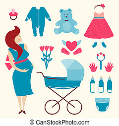 Pregnant Young Woman and Baby Clothes - Flat simple...