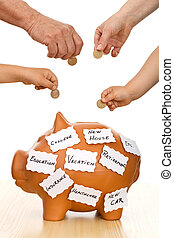 Home finances concept - Hands of different generations...