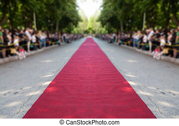 classic red carpet  -  classic red carpet over street