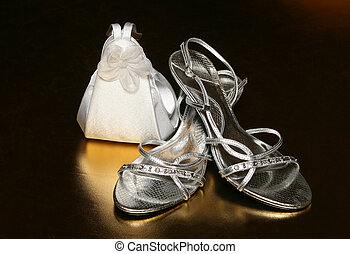 Bridal Accessories as white handbag and silver shoes