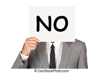 Business expression say no idea on businessman hand isolated...