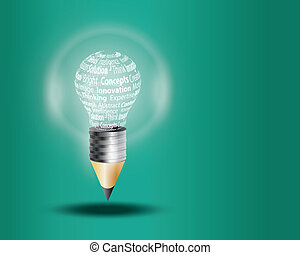 Innovate business concept made with words on light bulb