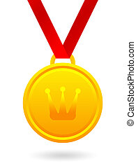 Golden medal with royal crown