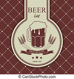 Sample menu with a beer mug - The vector image of Sample...