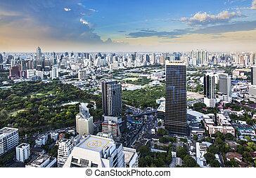 Modern city in a green environment, Suan Lum,...