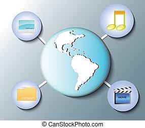 Illustration of world globe with media icons
