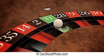 roulette - white ball on roulette wheel