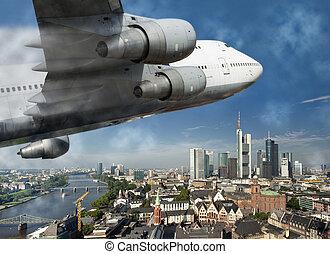 Aircraft over Frankfurt - A large passenger aircraft flies...