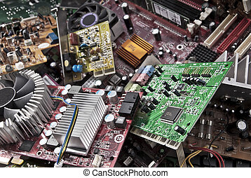 Electronic waste - A lot of old computer boards