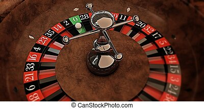 roulette - white ball on roulette wheel