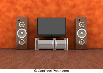 Home Entertainment System - 3D rendered Illustration...