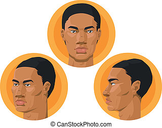 Head - African American Man - A vector set of african...