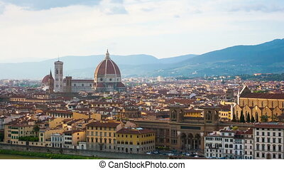 Florence, river embankment of Arno and Cathedral of Santa...