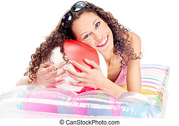 Girl on air mattress
