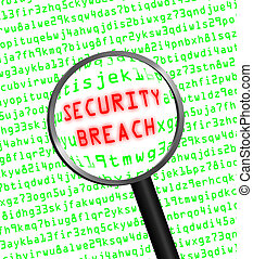 """Red word """"SECURITY BREACH"""" revealed revealed in green computer machine code through a magnifying glass.White background."""
