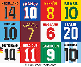 Football jersey numbers - Vector illustration of different...