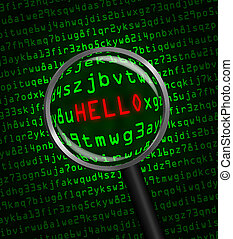 """""""HELLO"""" revealed in computer code through a magnifying glass"""
