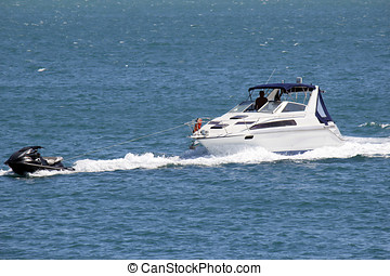 Speedboat on sea