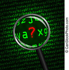 Question Mark ? in red revealed in green computer machine code through a magnifying glass