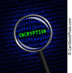 "The word ""ENCRYPTION"" in green revealed in blue computer..."