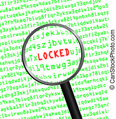 """""""LOCKED"""" revealed in computer code through a magnifying glass"""