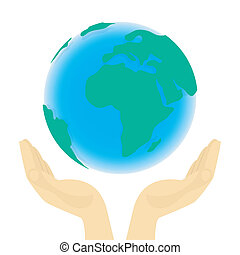 Earth in Hands - Conceptual illustration of the Earth in...