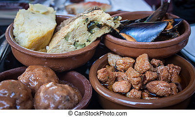tapas spain - Assortment of tapas in a bowl in Barcelona...