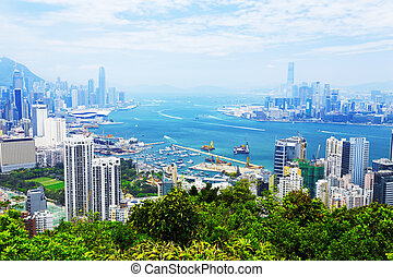 Aerial view of Hong Kong harbor - HongKong harbor daytime ,...