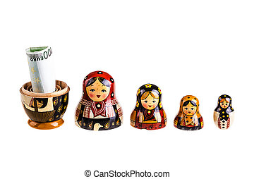 Euro bonus - Russian doll with euro inside isolated on white...